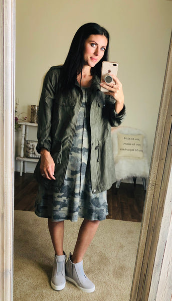 Camo Print Dress w/ Back Tie