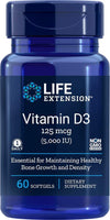 Life Extension Vitamin D3 - 125mcg (5,000 IU) - 60 Softgels