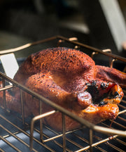 ProQ Stainless Steel Rib Rack and Roasting Tray In Use Smokey Roast Chicken