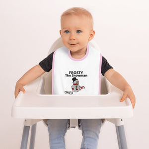 FROSTY SNOWMAN FUN EMBROIDERED BABY BIB