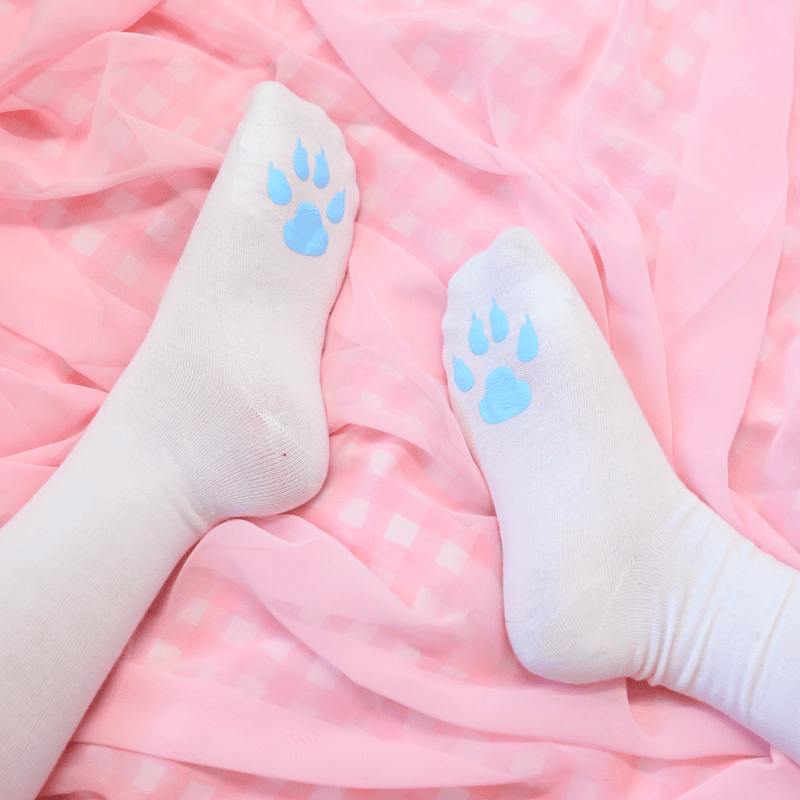 Kitten Paw White Thigh High Socks