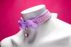 Purple and Pink Heart Collar