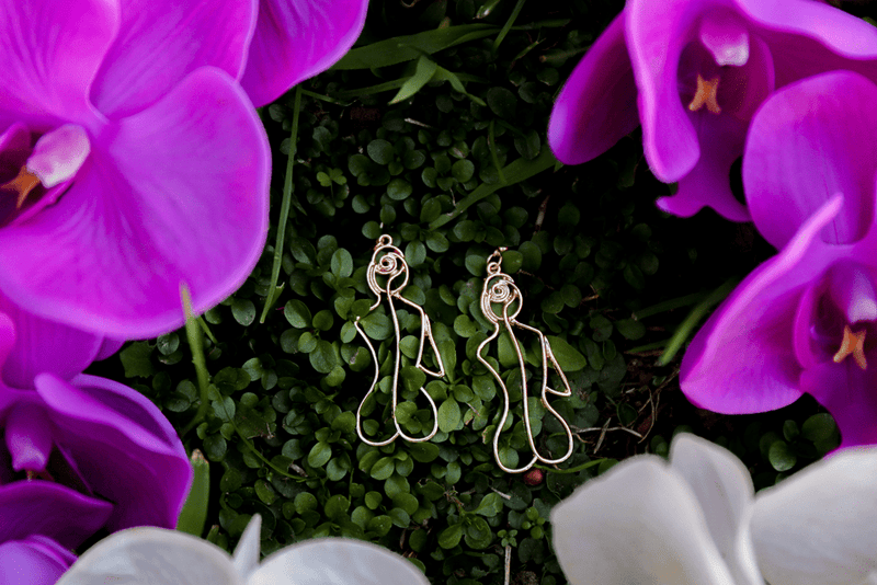 Floral Goddess Wire Earrings