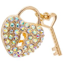 Rhinestone Gold Heart Locket