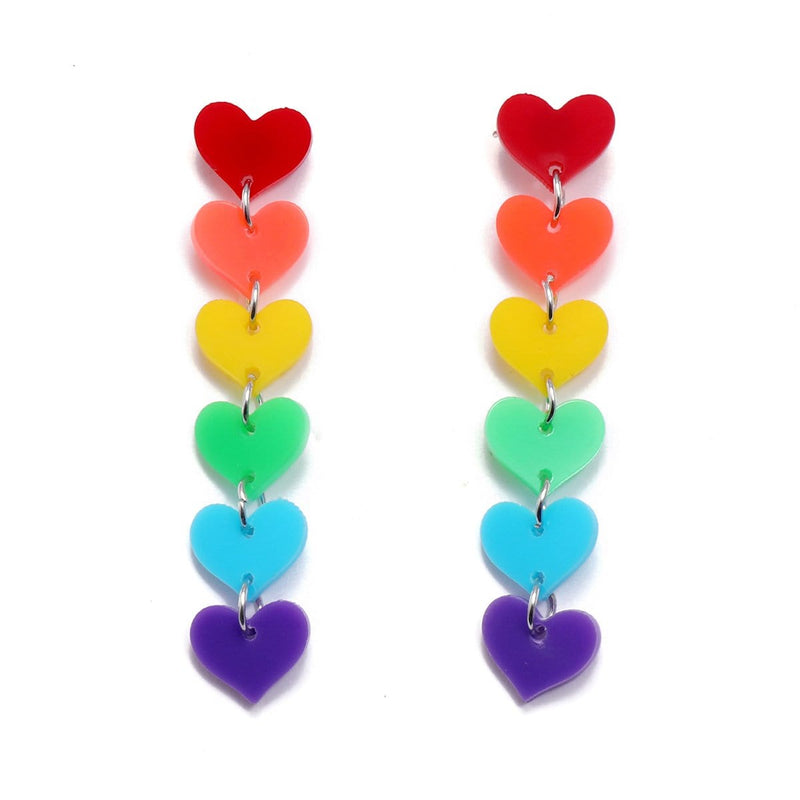Rainbow Hearts Earrings
