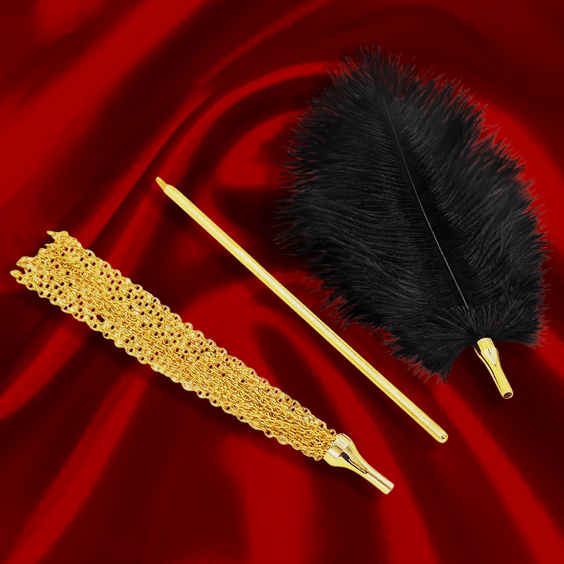 Gold Teaser Set with Feather Tickler and Chain Flogger