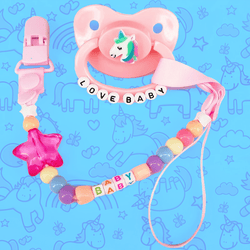 Love Unicorn Adult Pacifier & Clip Set