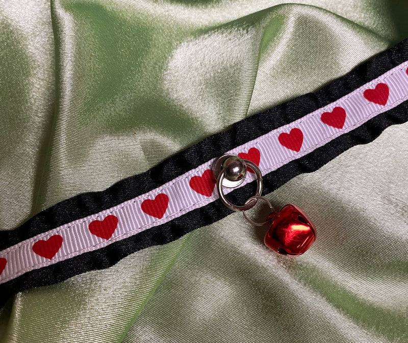 Black, White, & Red Heart Collar