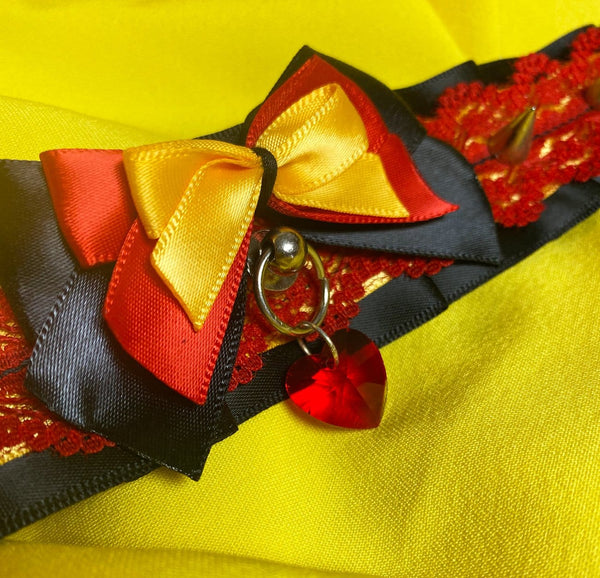 Yellow, Red, & Black Lace Collar with Spikes