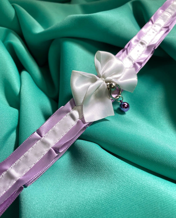 Lavender and White Pleated Collar