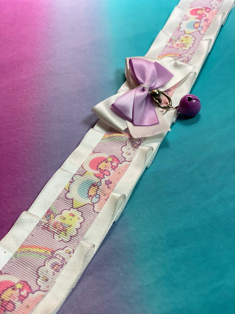 White and Light Purple Little Twin Stars Luxury Collar