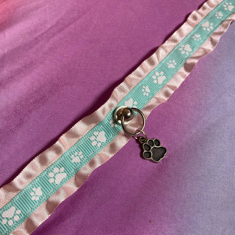 Pink and Mint Ruffled Paw Print Collar