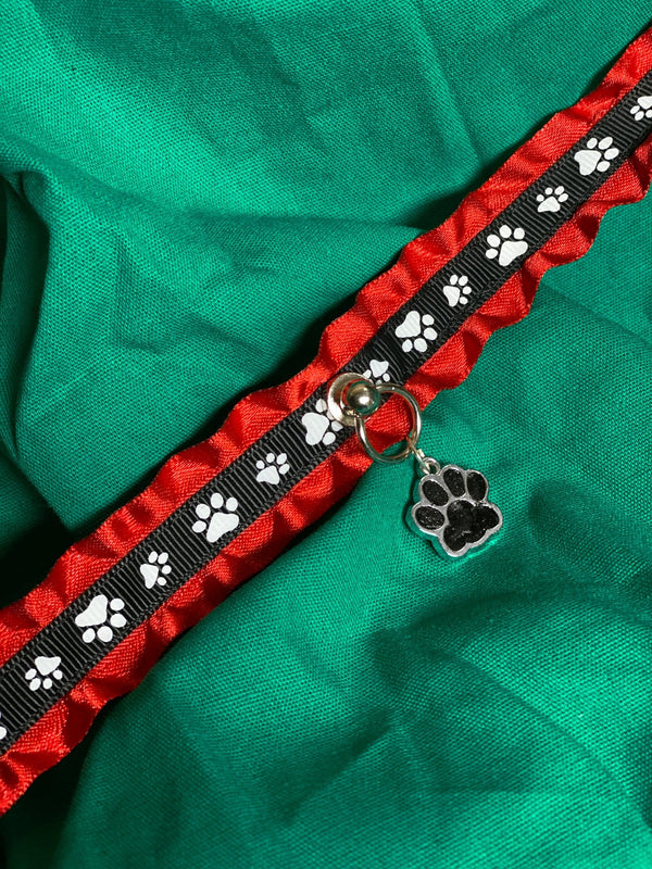 Red and Black Paw Print Collar