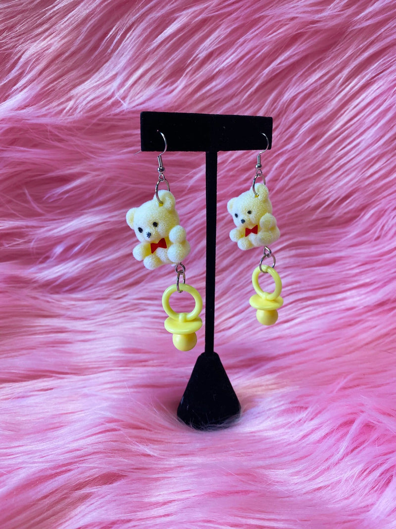 Yellow Teddy Bear Pacifier Earrings