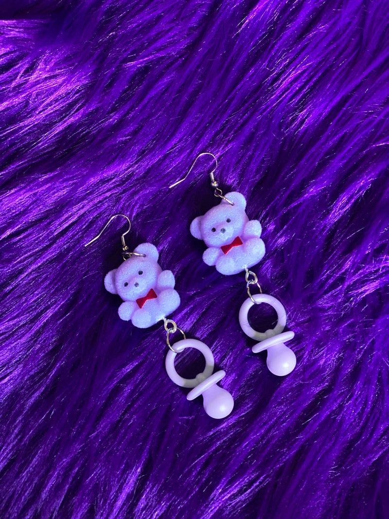 Purple Teddy Bear Pacifier Earrings