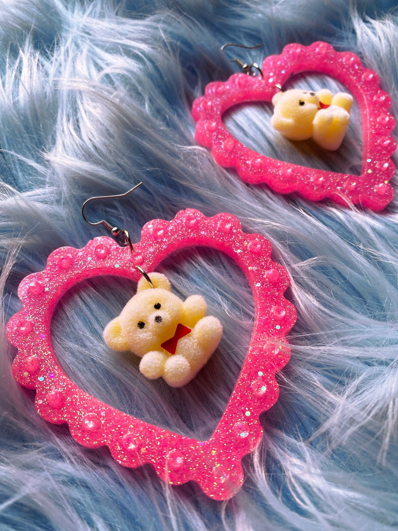 Pink Love Bear Earrings