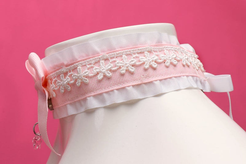 Pink and White Glitter Flower Collar