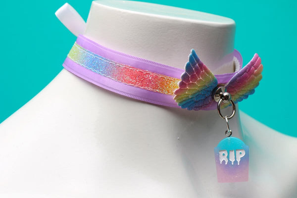 Lavender and Rainbow Angel RIP Collar