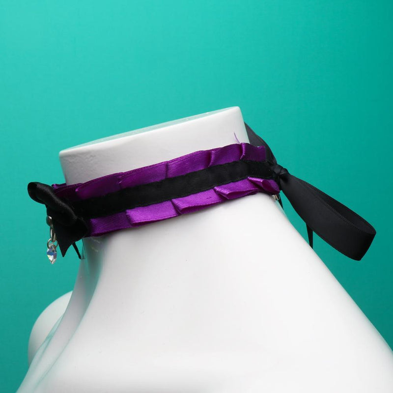 Purple and Black pleated Collar with Crystal Heart