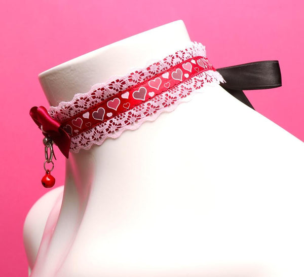 Red and Pink Heart Lace Collar