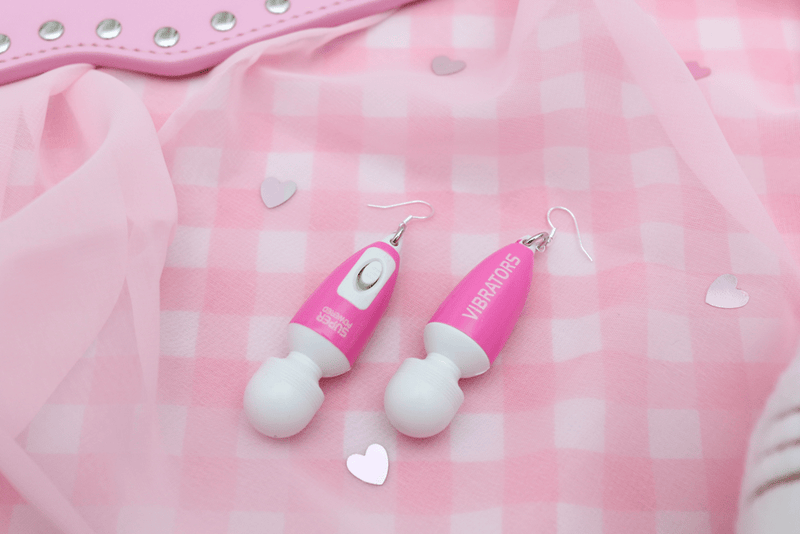 Self Love Vibrator Earrings - Super Powered Pink