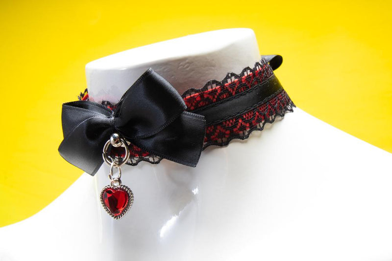 Red and Black Lace Love Collar