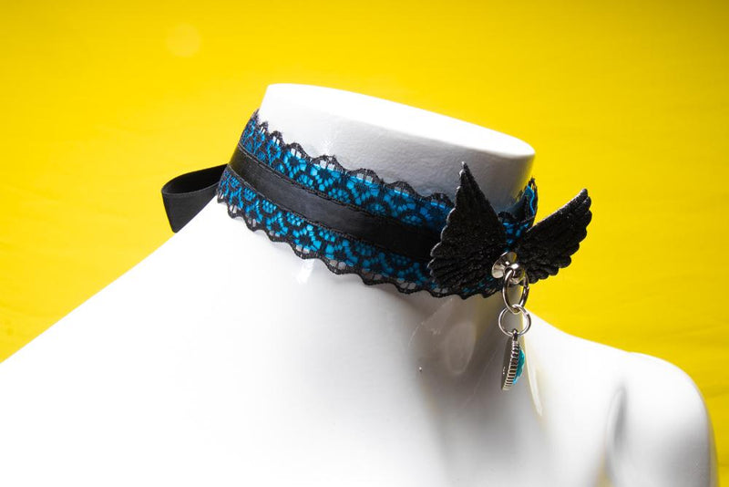 Blue and Black Lace Love Collar