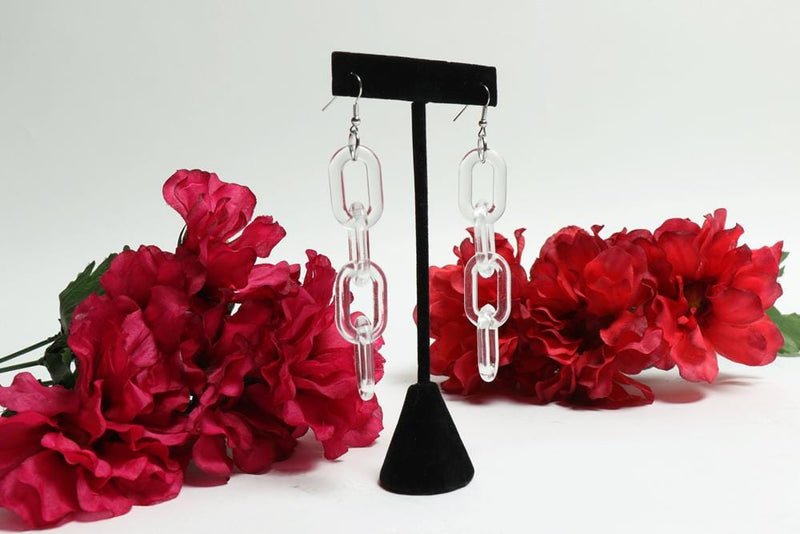 Clear Acrylic Chain Earrings