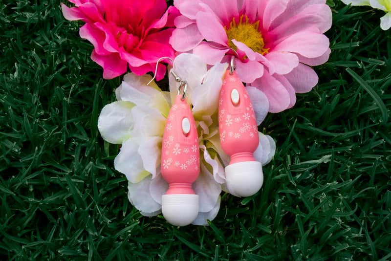 Pink Floral Vibrator Earrings