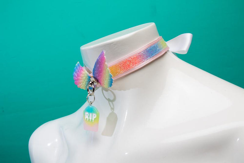 Pink and Rainbow Angel RIP Collar