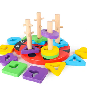 [Ready Stock] Wooden Ladybird 3D Puzzle Stacking Toy