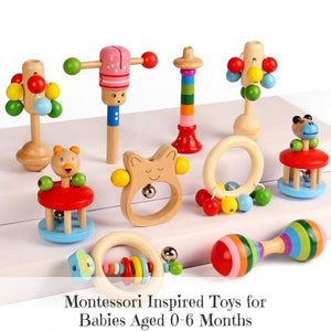 [Ready Stock] Baby Wooden Rattles (10 Different Designs)