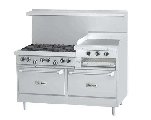 "Garland SunFire Series X60-6R24RR Natural Gas 6 Burner Gas Range with 24"" Raised Griddle/Broiler and Two Standard Ovens"