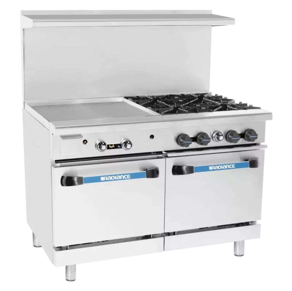"Turbo Air TARG-24G4B 48"" 4 Burner Gas Range w/ Griddle & (2) Space Saver Ovens, Natural Gas"