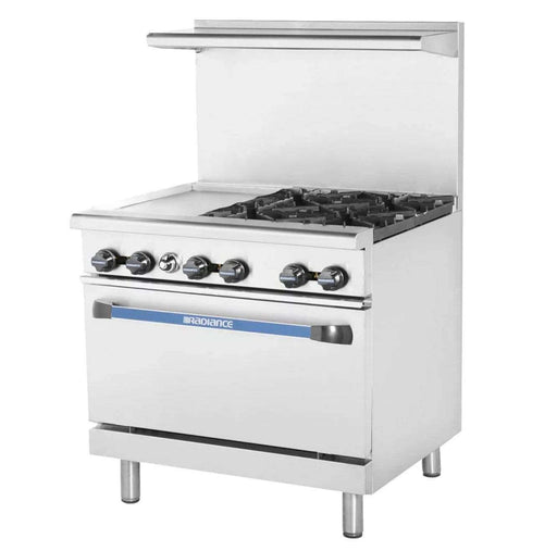 "Turbo Air TARG-12G4B 36"" 4 Burner Gas Range w/ Griddle & Standard Oven, Natural Gas"