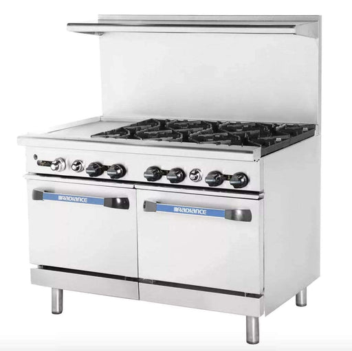 "Turbo Air TARG-12G6B 48"" 6 Burner Gas Range w/ Griddle & (2) Space Saver Oven, Natural Gas"