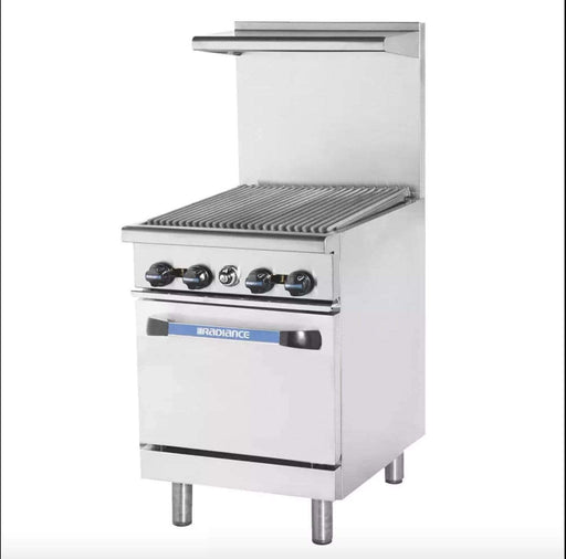 "Turbo Air TAR-24RB 24"" Gas Range w/ Full Charbroiler & Space Saver Oven, Natural Gas"