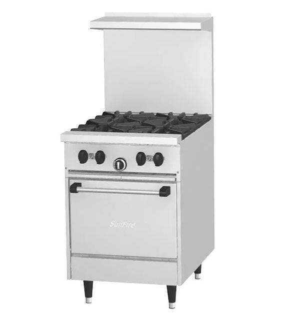 "Garland SunFire Series X24-4L Natural Gas 4 Burner 24"" Gas Range with Space Saver Oven - 145,000 BTU"