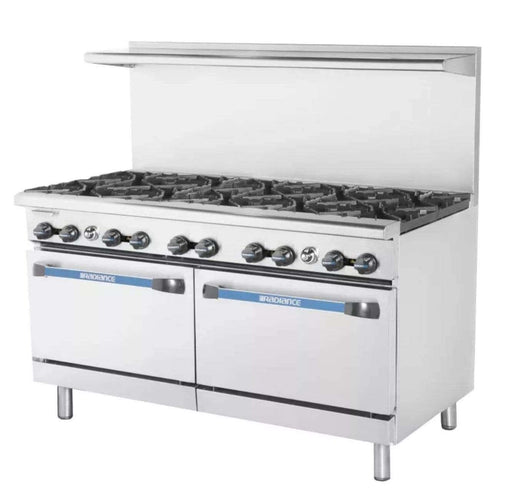 "Turbo Air TAR-10 60"" 10 Burner Gas Range w/ (2) Standard Ovens, Natural Gas"