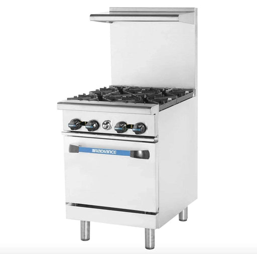 "Turbo Air TAR-4 24"" 4 Burner Gas Range w/ Space Saver Oven, Natural Gas"