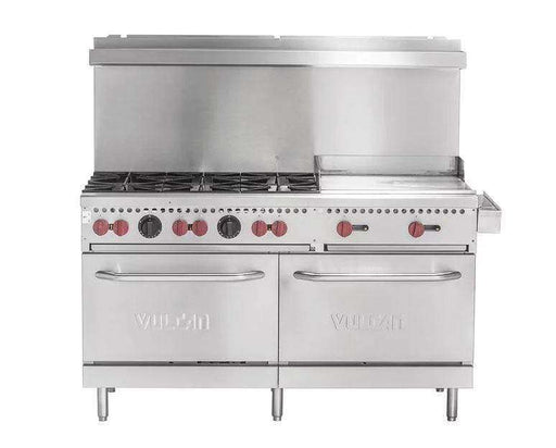 "Vulcan SX60F-6B24GN SX Series Natural Gas 6 Burner 60"" Range with 24"" Manual Griddle with 2 Standard Ovens - 258,000 BTU"