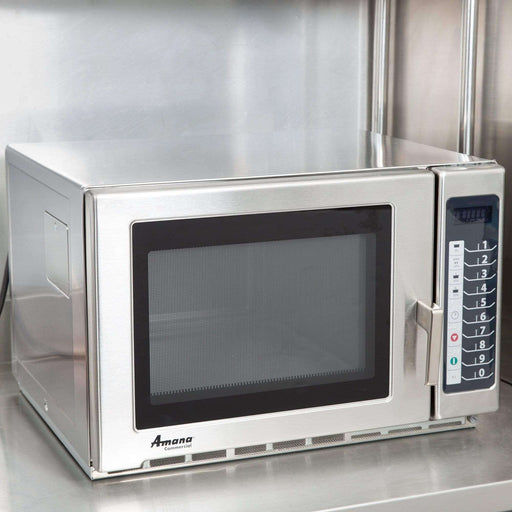 Amana RFS18TS Medium Duty Stainless Steel Commercial Microwave with Push Button Controls - 208/230V, 1800W