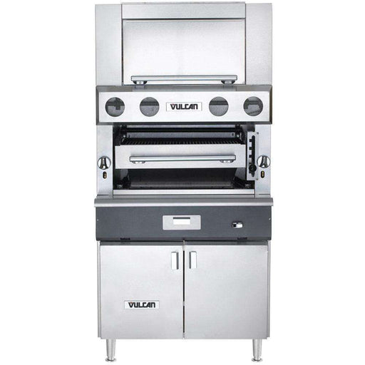 Vulcan VBB1BF-NAT Natural Gas Upright Ceramic Broiler with Cabinet Base and Finishing Oven - 100,500 BTU