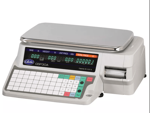 Globe GSP30A-PC Label Printing Scale, 30 lb x .01 lb Capacity, 88 Keys, 115v