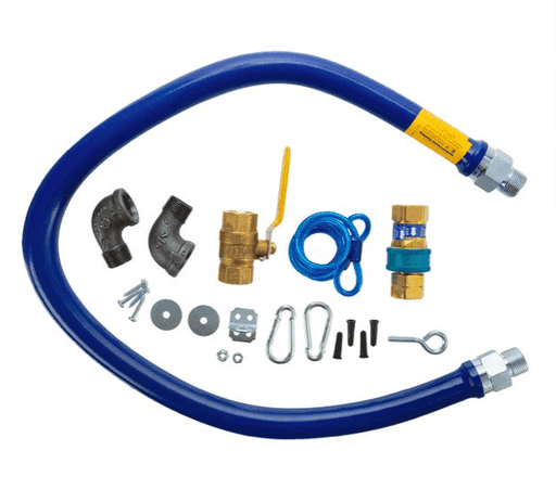 "Dormont 1675KIT48 Deluxe 48"" Moveable Gas Connector Kit with SnapFast® Quick Disconnect, Two Elbows, and Restraining Cable - 3/4"" Diameter"