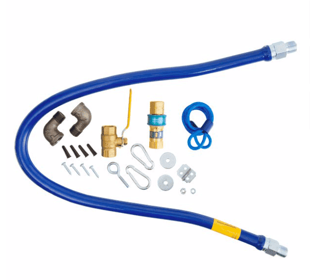 "Dormont 1650KIT48 Deluxe SnapFast® 48"" Gas Connector Kit with Two Elbows and Restraining Cable - 1/2"" Diameter"