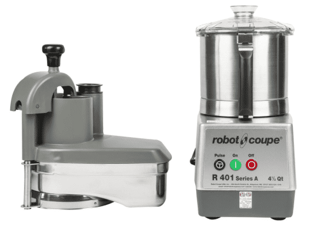 Robot Coupe R401 Combination Continuous Feed Food Processor with 4.5 Qt. Stainless Steel Bowl - 1 1/2 hp