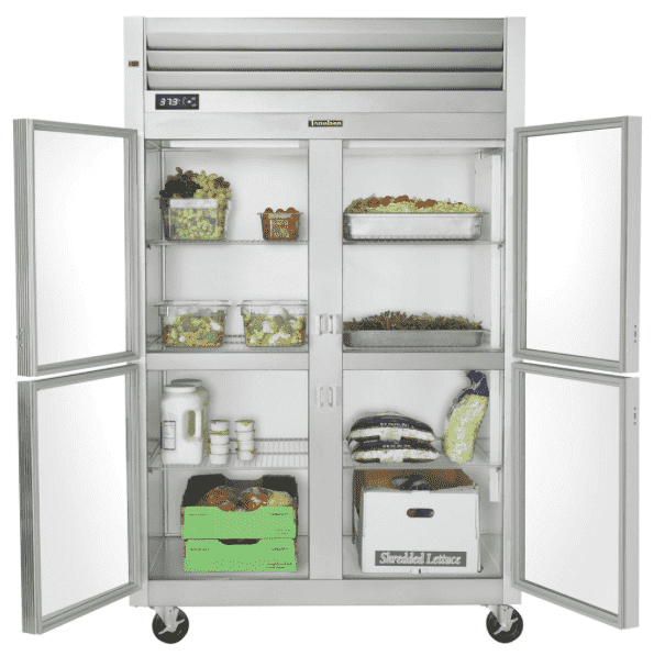 Traulsen G21000 2 Section Glass Half Door Reach In Refrigerator - Left / Right Hinged Doors