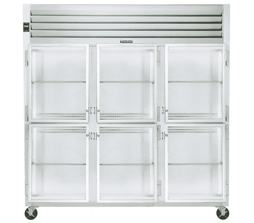 Traulsen G32000 3 Section Glass Half Door Reach In Refrigerator - Left / Right / Right Hinged Doors