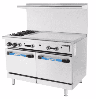 "Turbo Air TARG-2B36G 48"" 2 Burner Gas Range w/ Griddle & (2) Space Saver Ovens, Natural Gas"